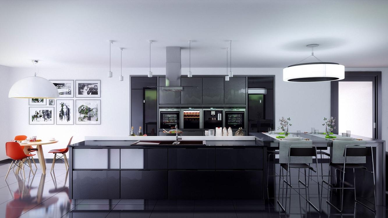 Правильное освещение на черной кухне