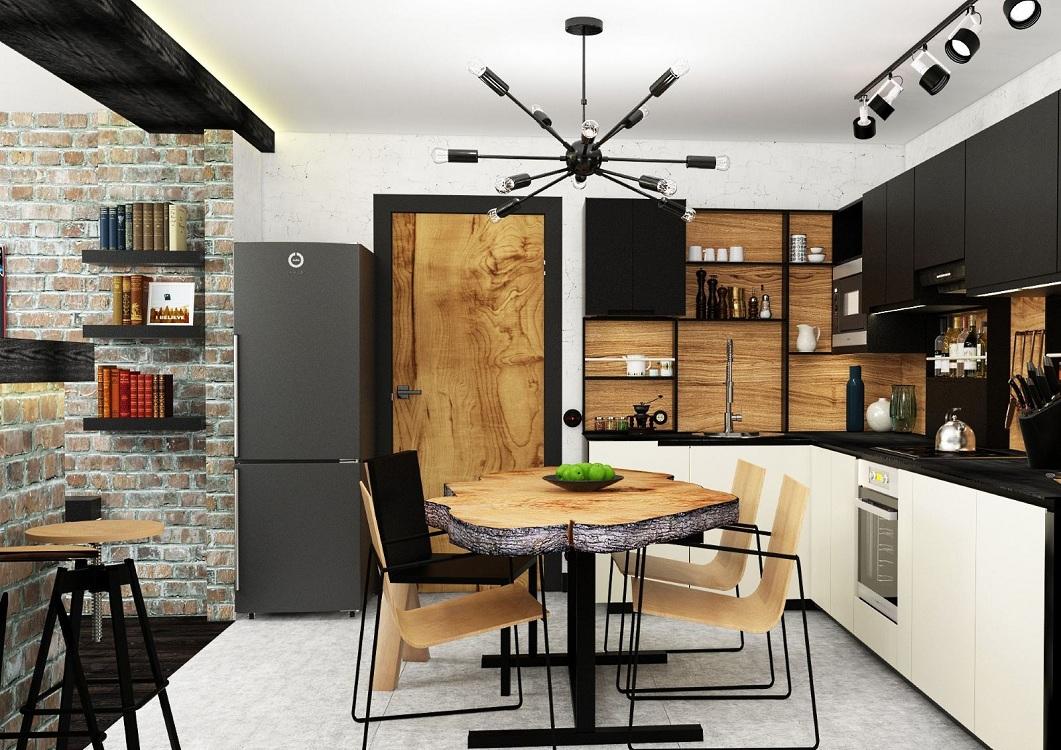 Правильное освещение на кухне в стиле лофт