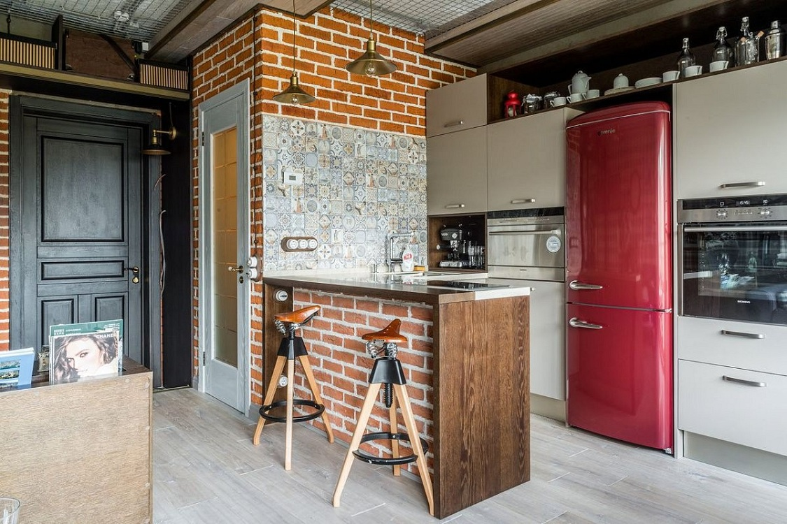 Предметы интерьера и аксессуары на кухне в стиле лофт
