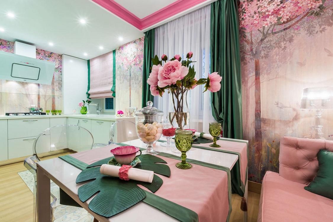Розовая кухня в сочетании с зеленым цветом