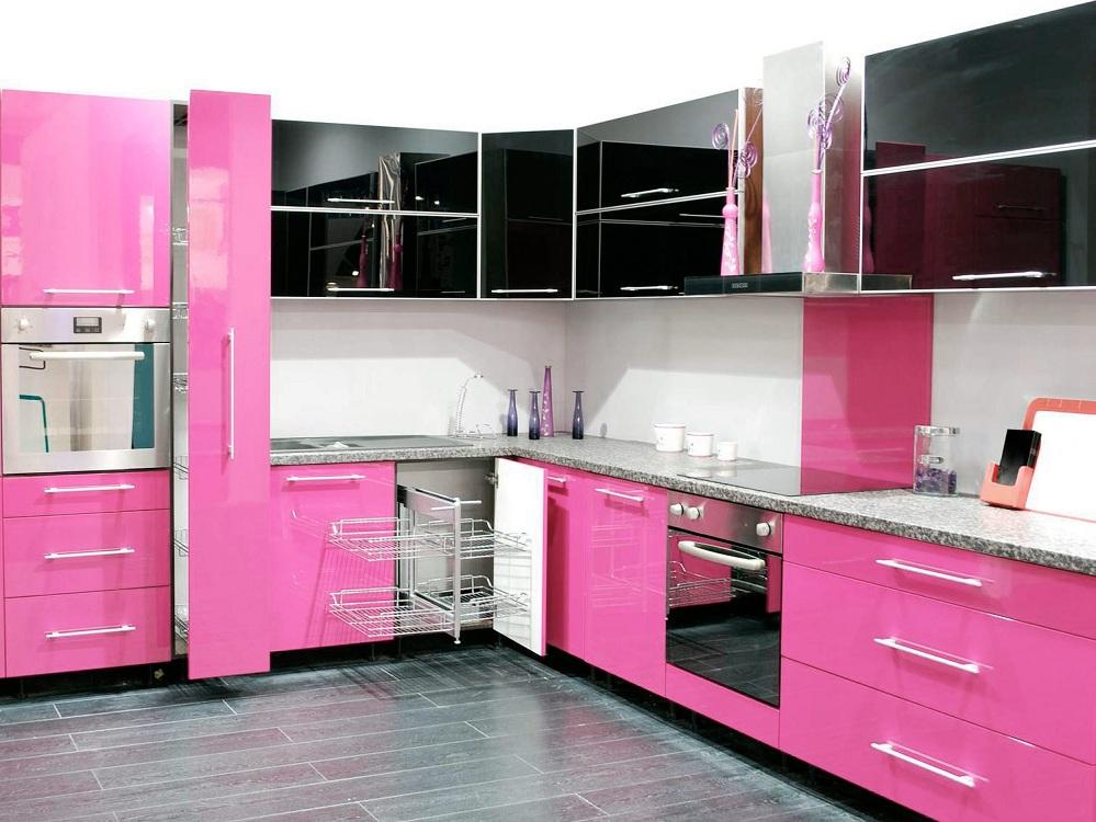 Розово-черная кухня