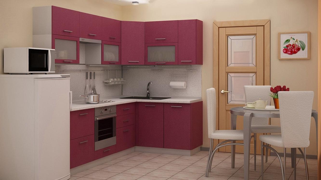 Розово-серая кухня