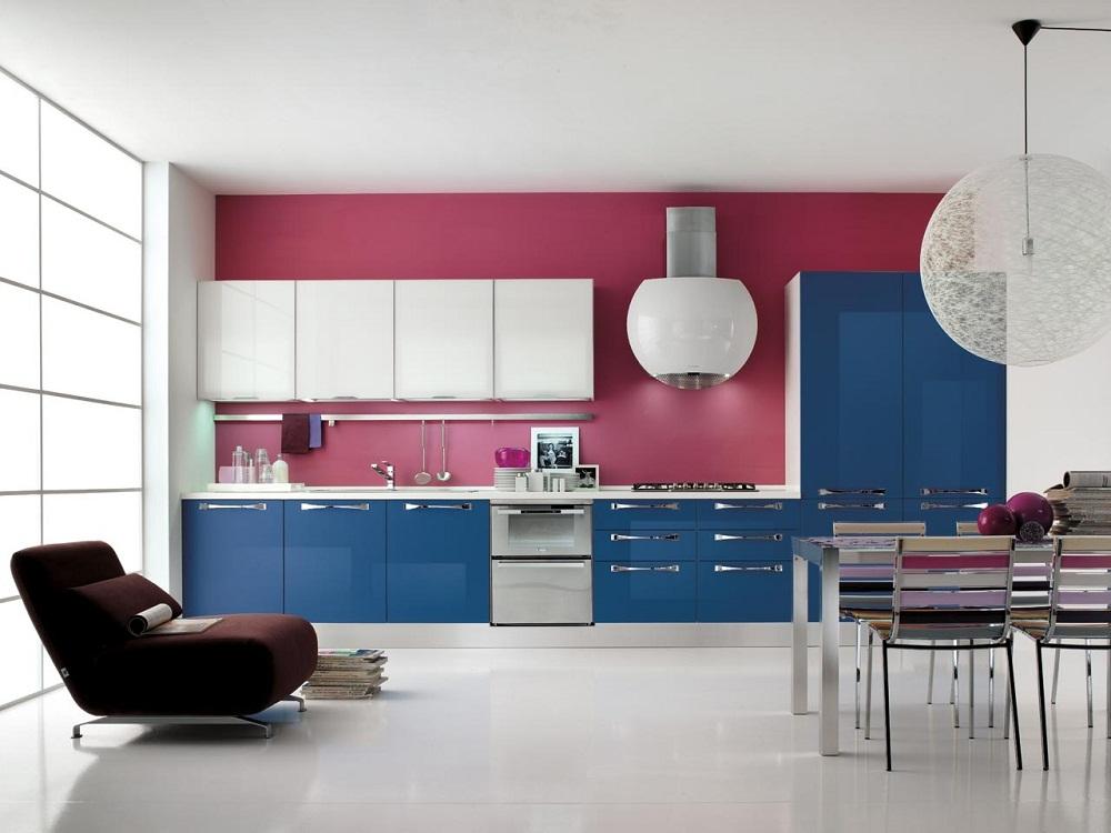Розово-синяя кухня
