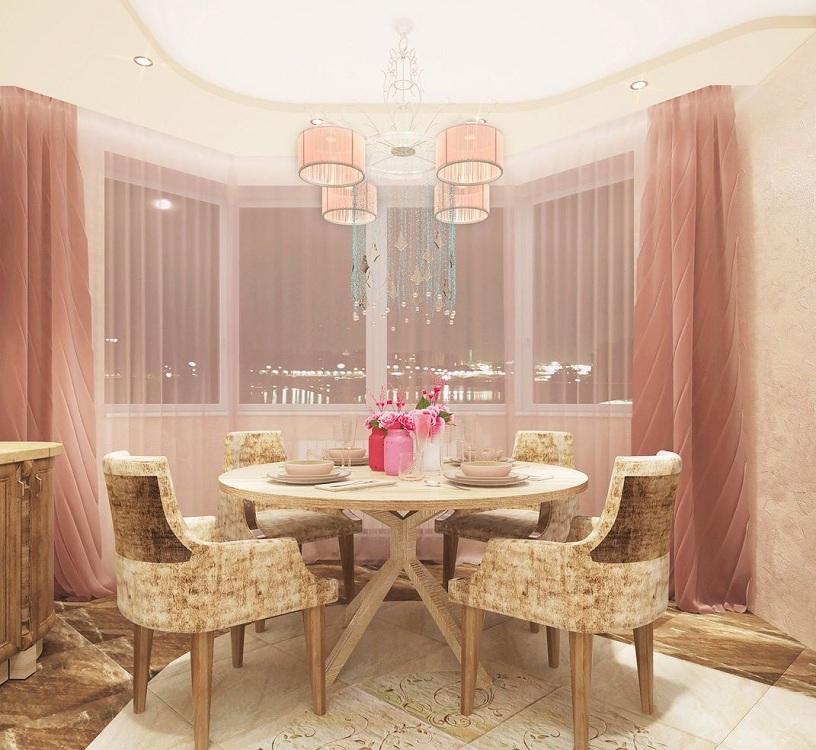 Шторы для розовой кухни