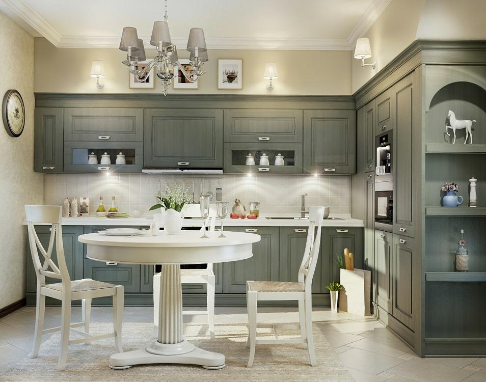 Серая кухня в классическом стиле