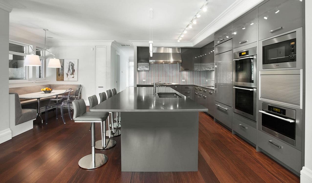 Серая кухня в современном стиле