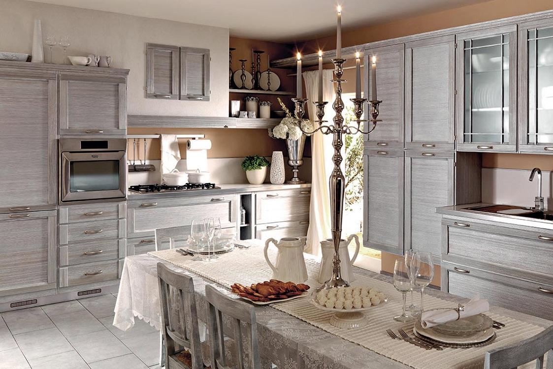 Серая кухня в стиле прованс