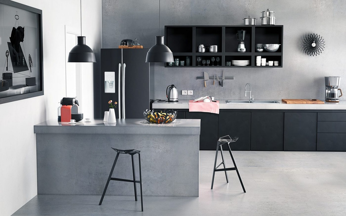 Серо-черная кухня