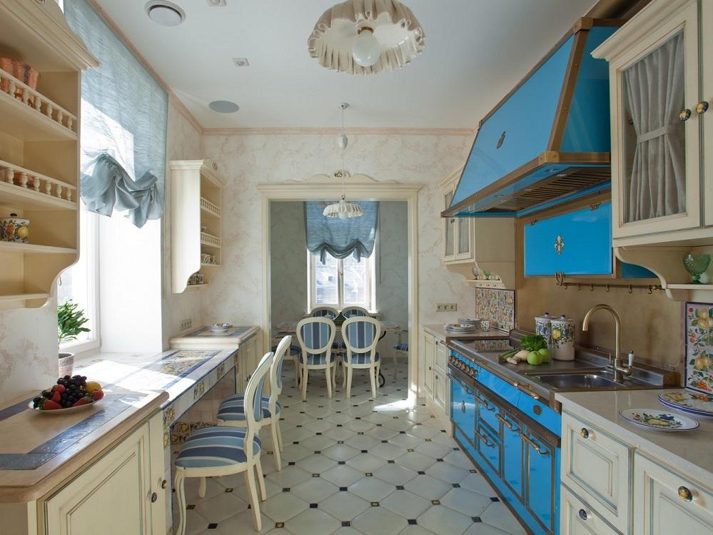 Синяя кухня в стиле прованс