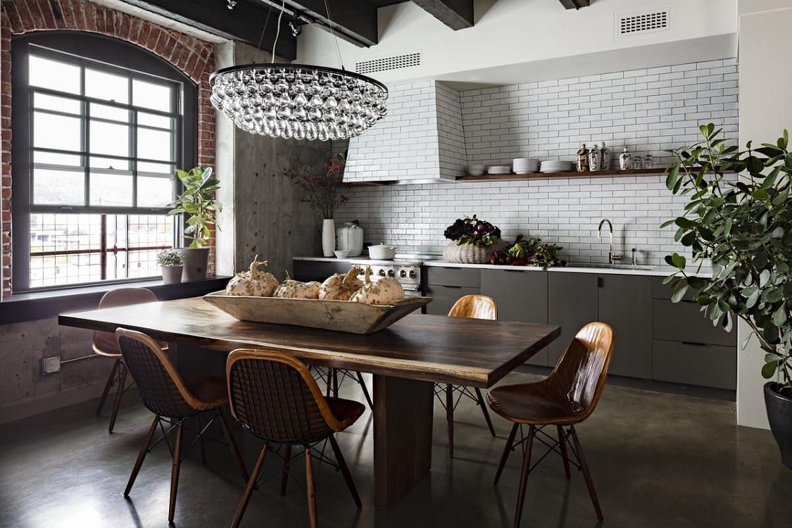 Системы хранения на кухне в стиле лофт
