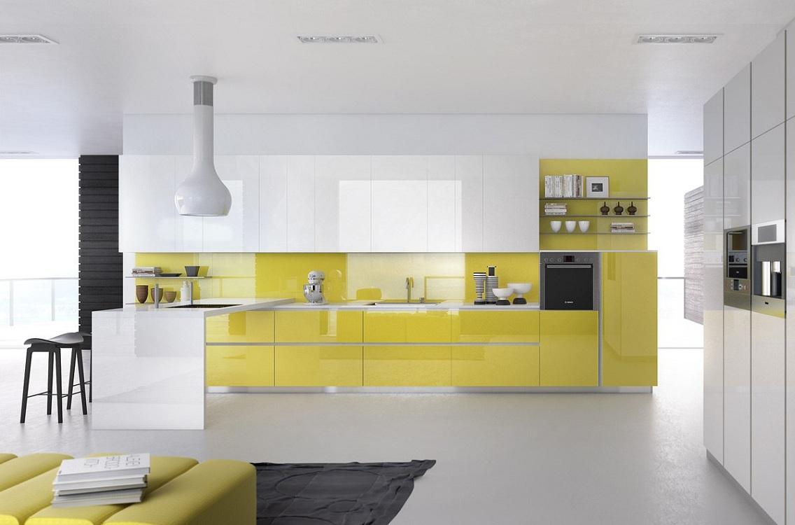 Сочетание лимонного цвета с белым в интерьере