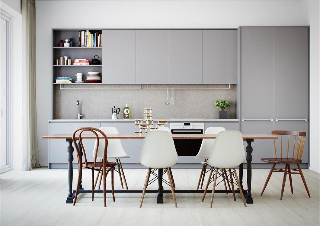 Стол и стулья для серой кухни