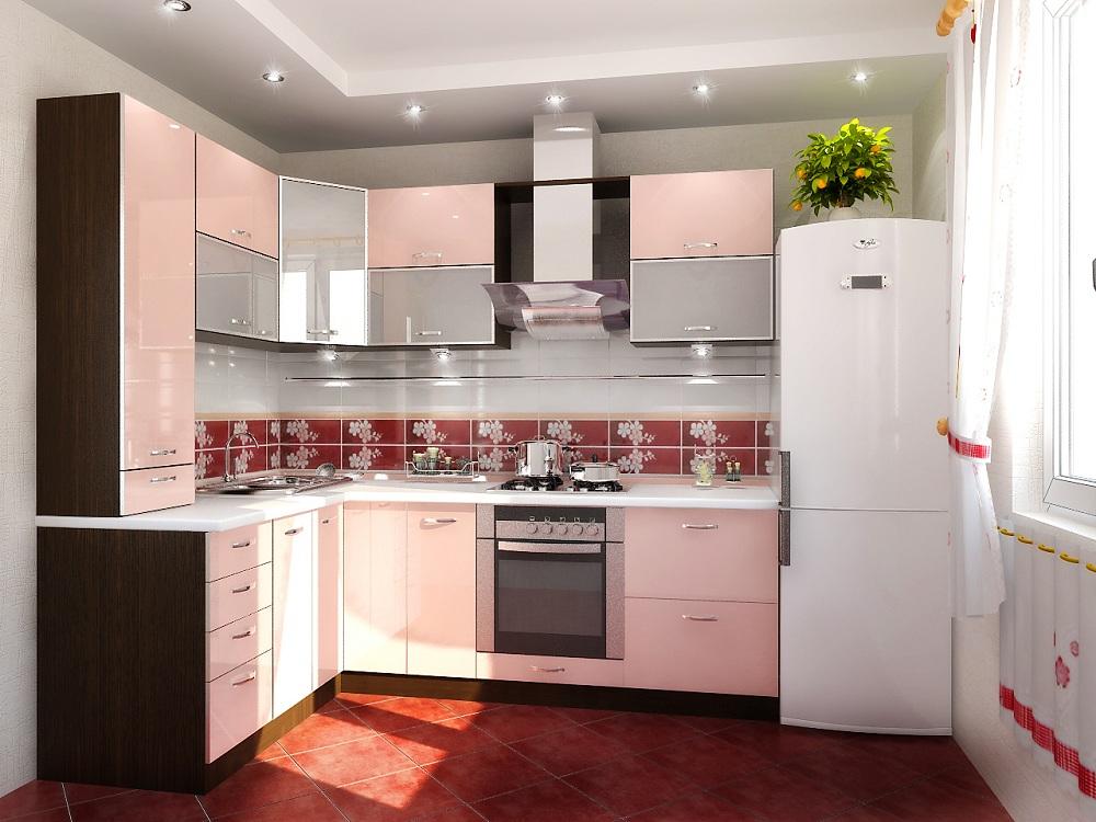 Угловая кухня в розовом цвете