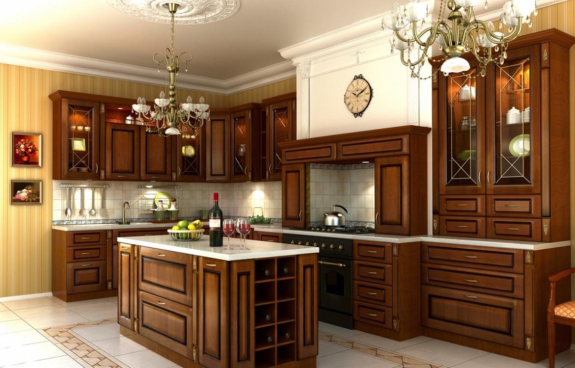 Угловые кухни из дерева
