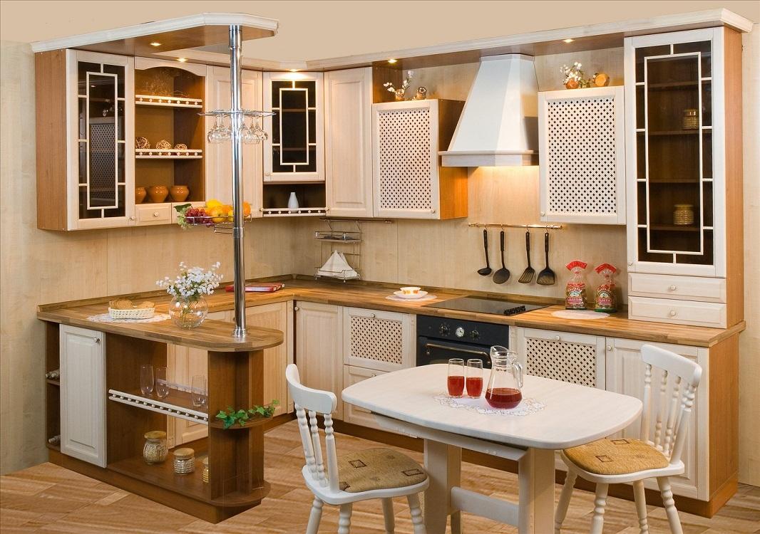 Угловые кухни с классической барной стойкой
