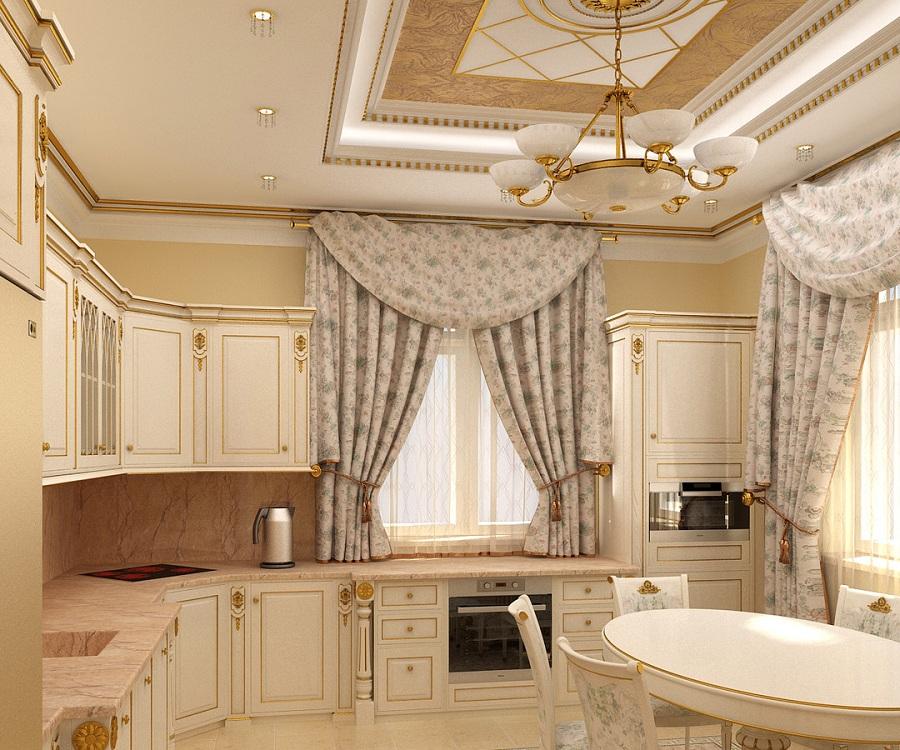 Укороченные шторы для кухни в классическом стиле