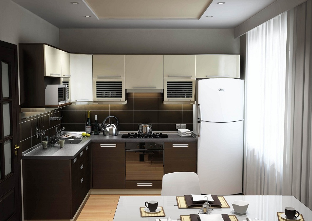 Варочная поверхность на маленькой угловой кухне