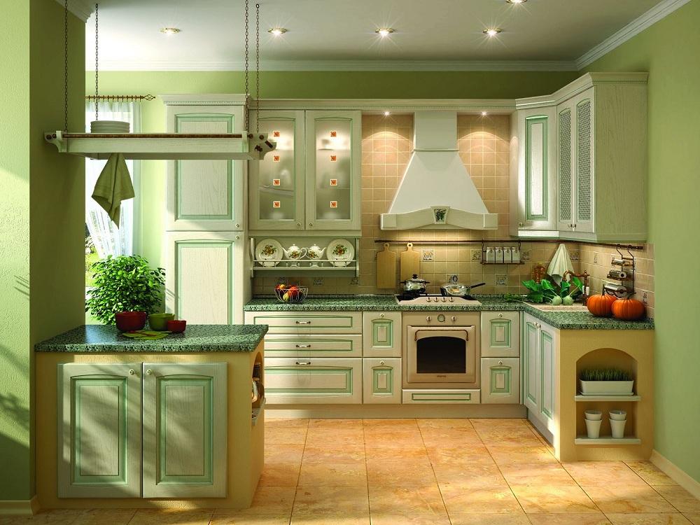 Зеленая кухня в классическом стиле