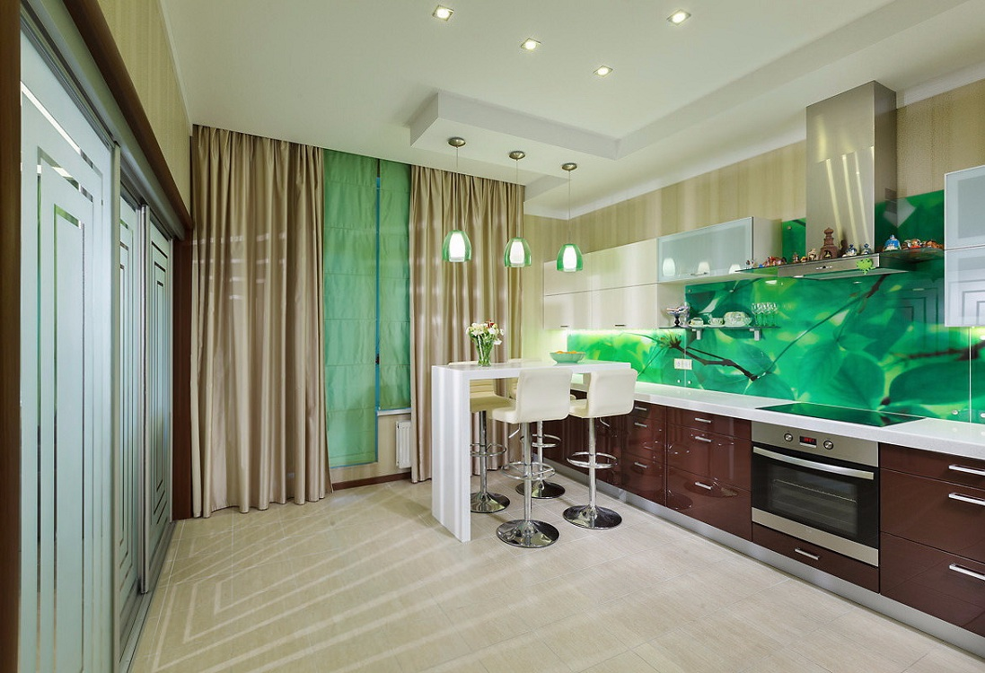 Зеленая кухня в современном стиле