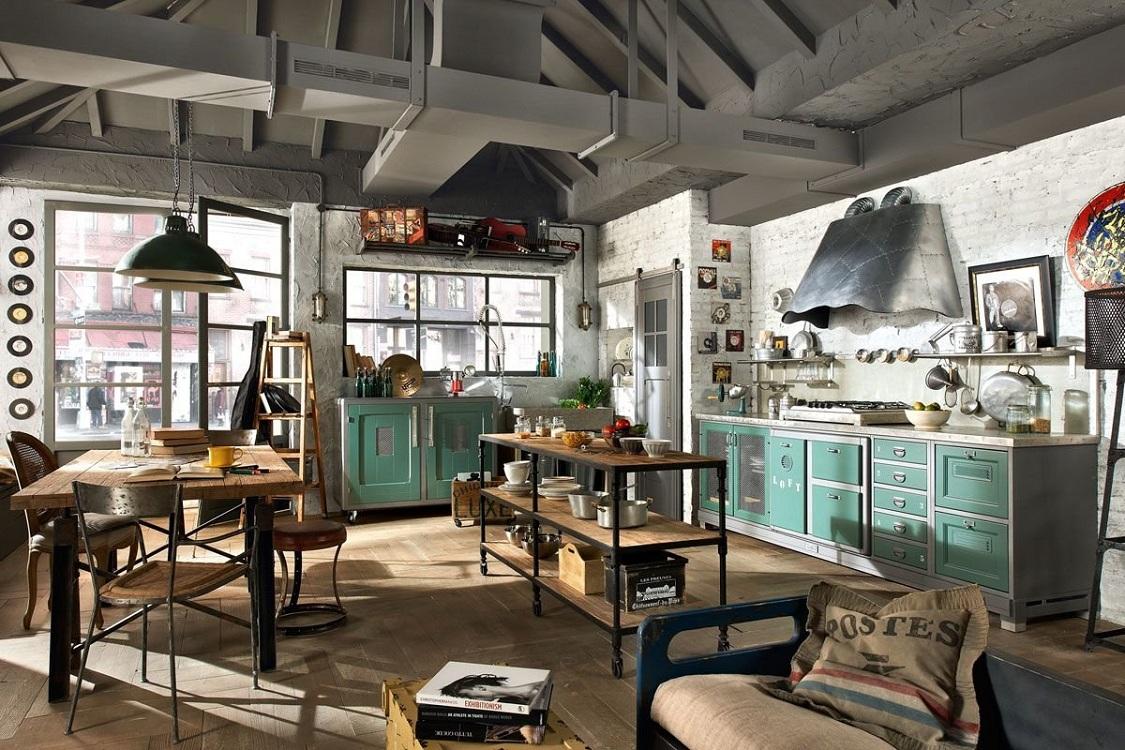 Зеленая кухня в стиле лофт