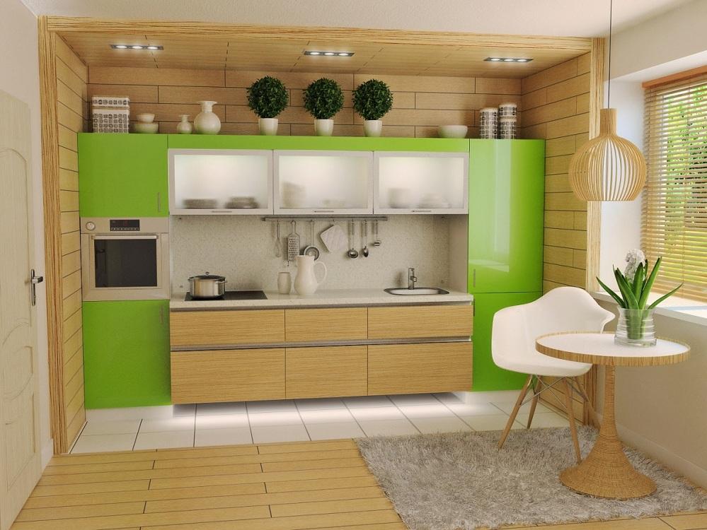 Зелено-бежевая кухня