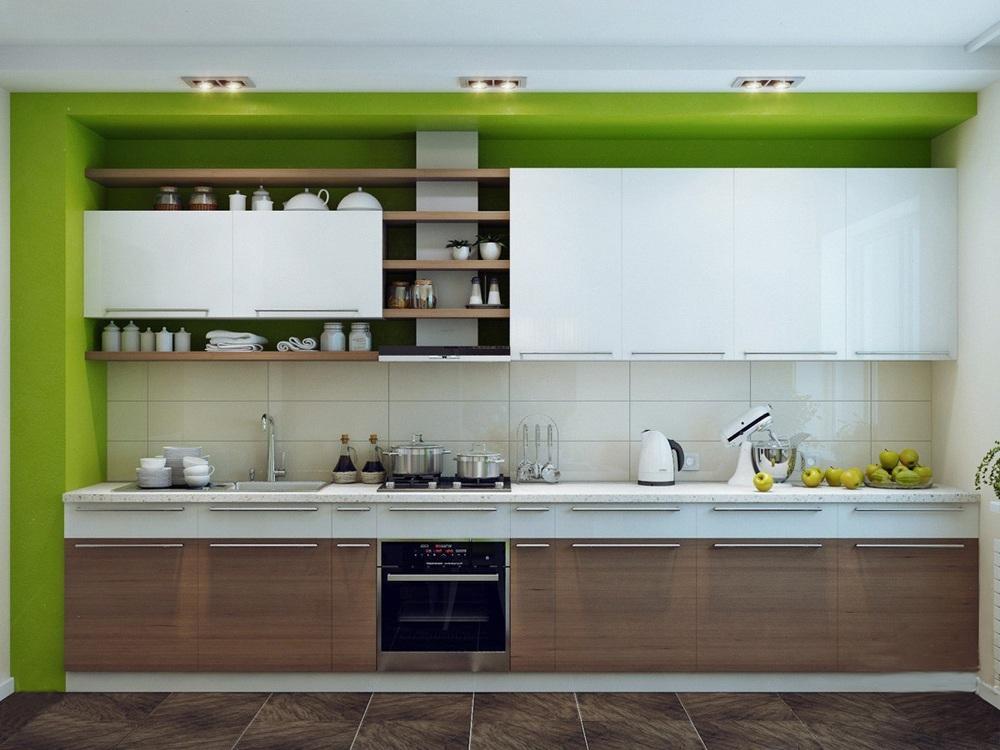 Зелено-коричневая кухня
