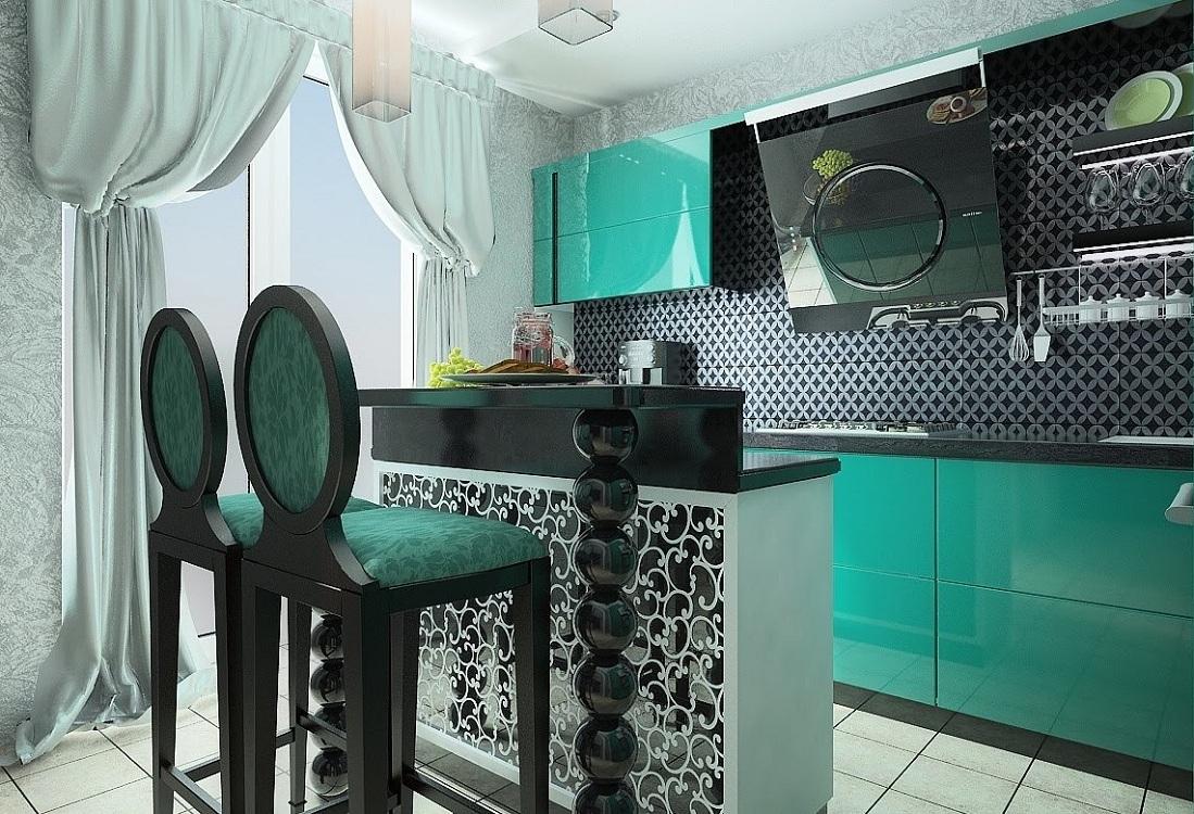 Аксессуары на кухне бирюзового цвета
