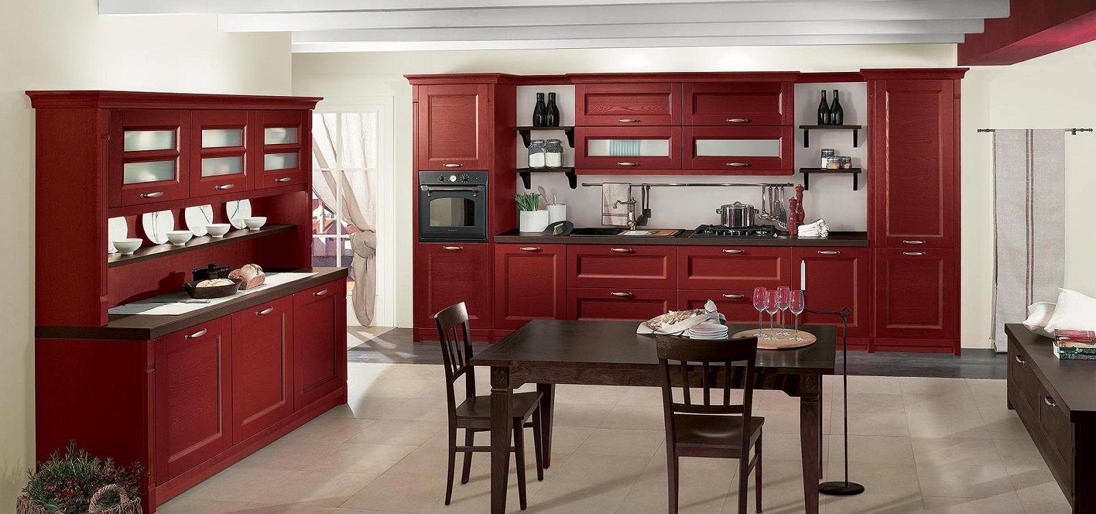 Бордовая кухня в классическом стиле