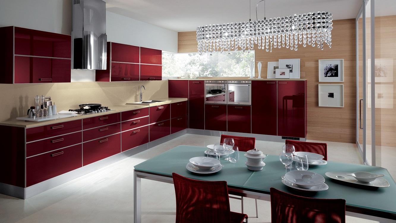 Бордовая кухня в современном стиле