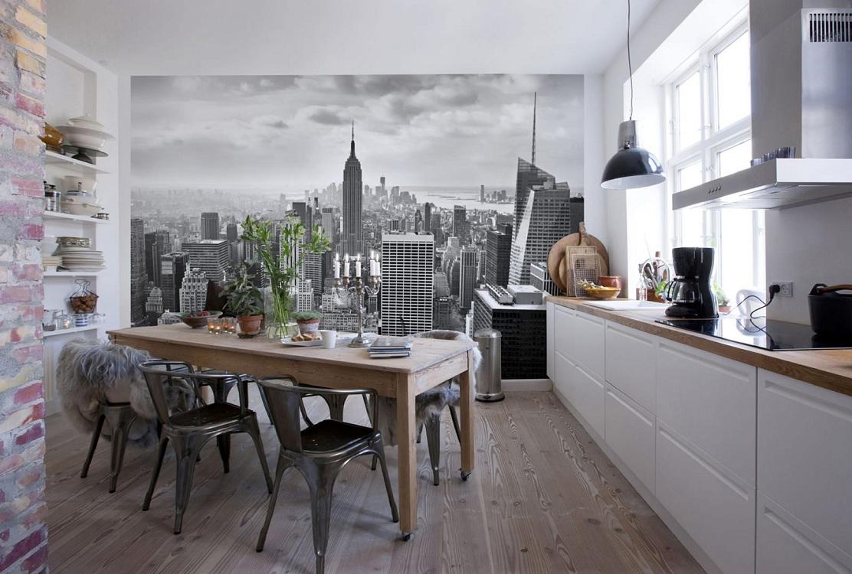 Бумажные фотообои на кухне