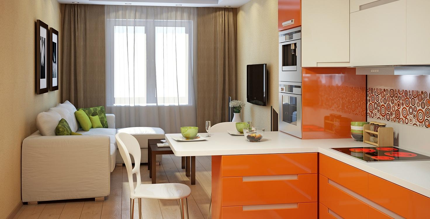 Диван на маленькой кухне-гостиной