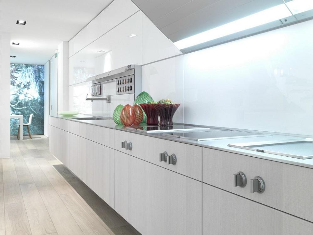 Фартук белого цвета из пластика для кухни