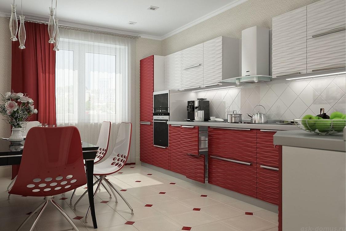 Фартук для красно-белой кухни
