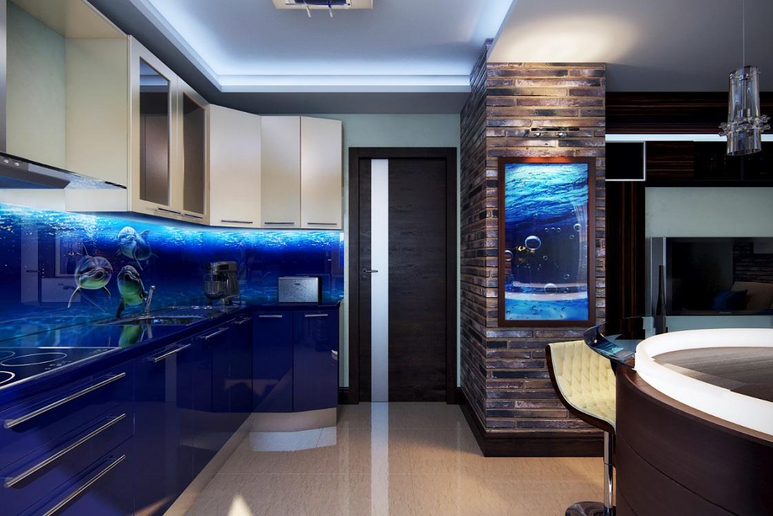 Фартук на кухню в морском стиле