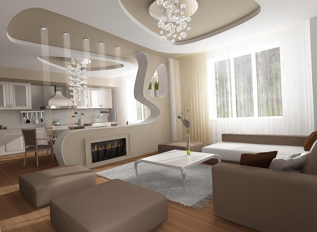 Фигурный потолок на кухню из гипсокартона