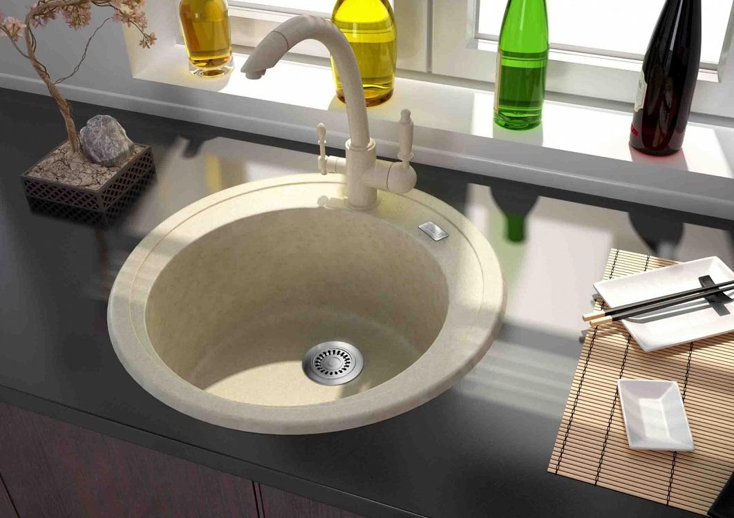 Форма и размер кухонной мойки из искусственного камня