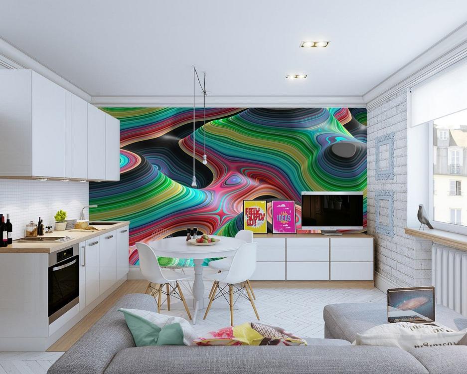 Фотообои на кухне с эффектом 3D