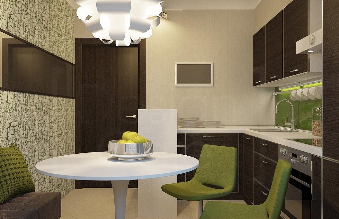 Коричневая кухня в сочетании с зеленым