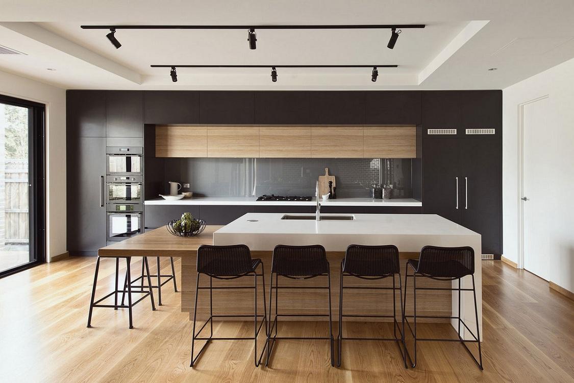 Коричневая кухня в стиле минимализм