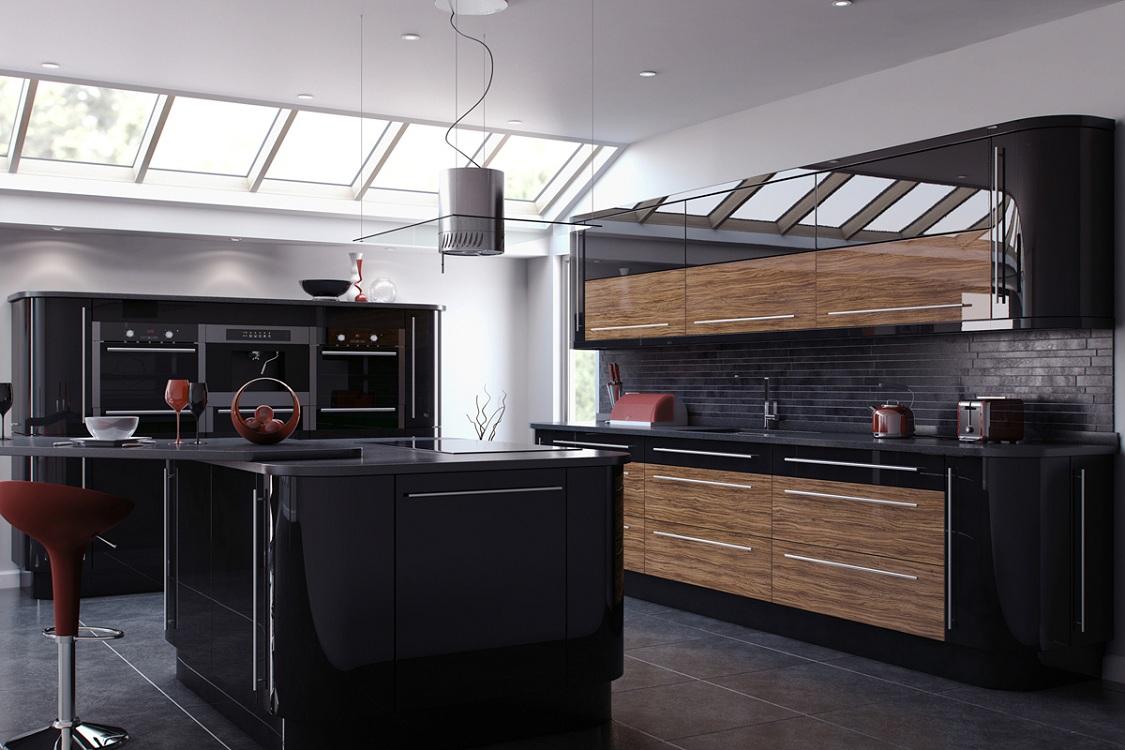 Коричнево-черная кухня