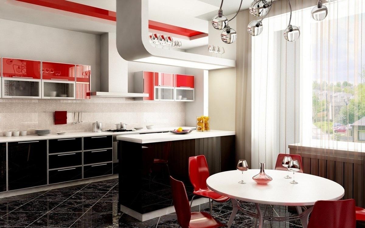 Красно-белая кухня в сочетании с черным