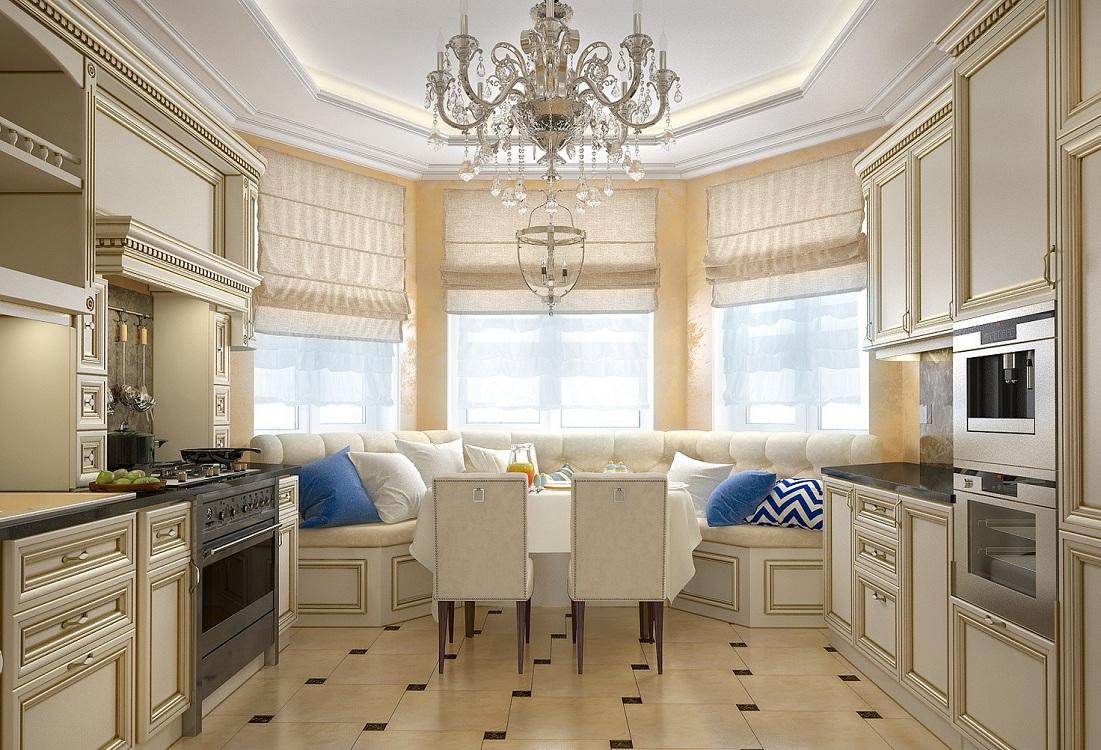 Кухни с эркером п44т в классическом стиле