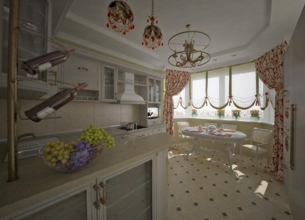 Кухни с эркером п44т в прованском стиле