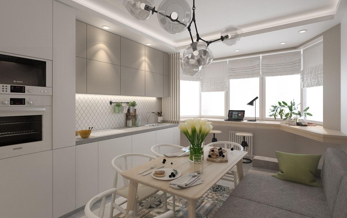 Удачные решения для дизайна кухни с эркером п44т