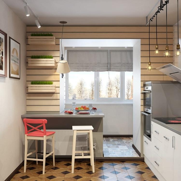 Кухня 8 метров объединена с балконом
