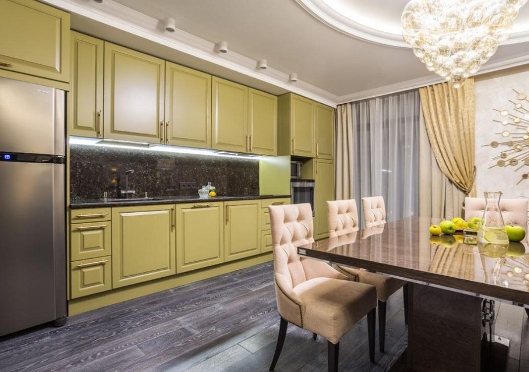 Кухня-гостиная в оливковом цвете