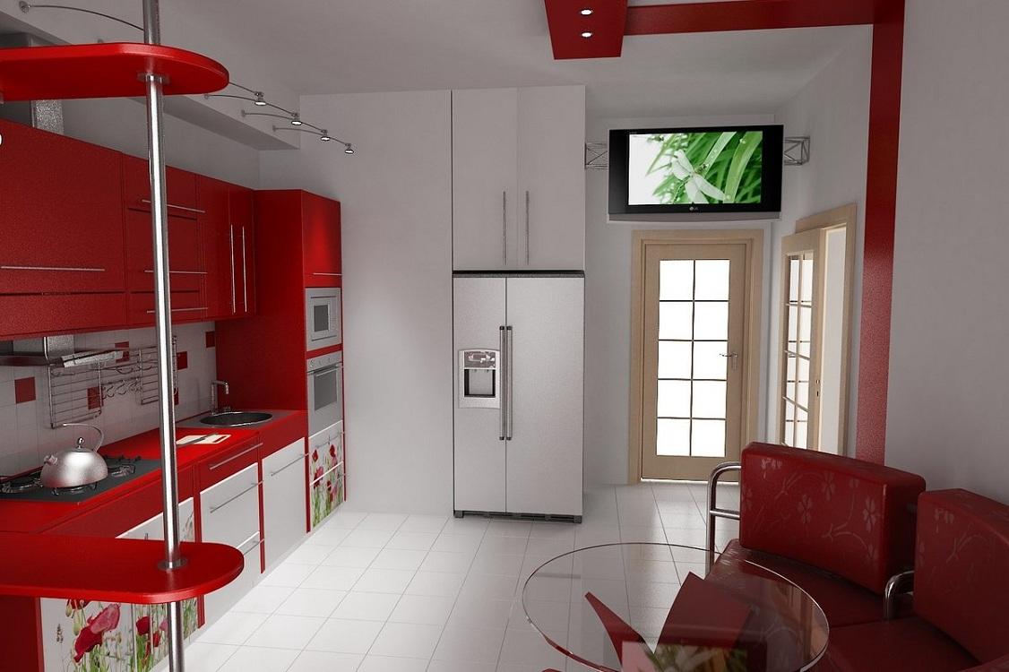 Кухня с белым низом и красным верхом