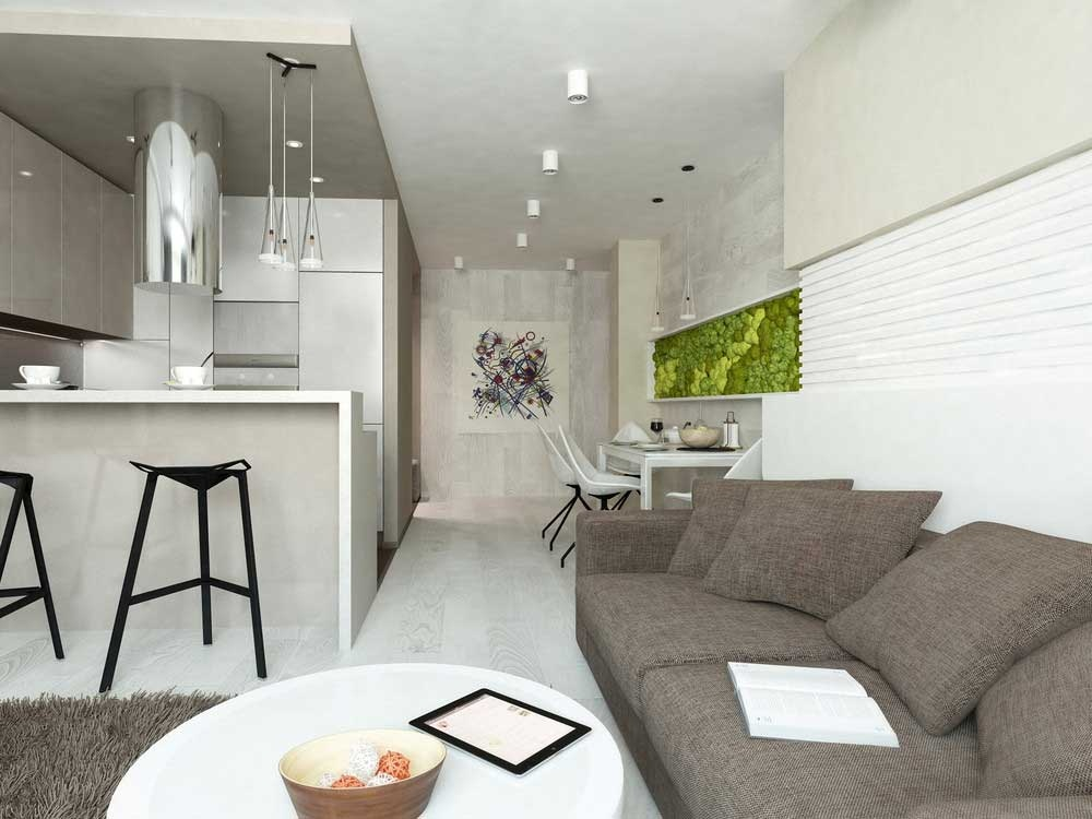 Кухня в квартире-студии в светлых тонах