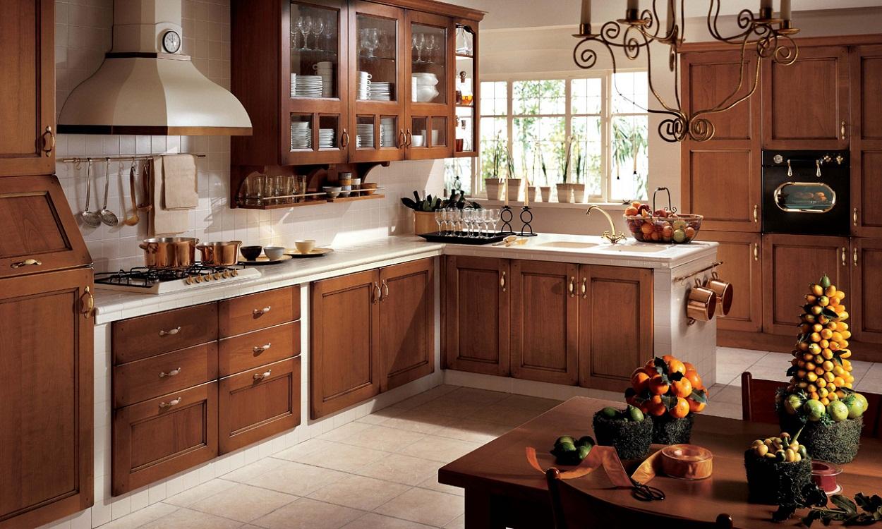 Кухня в стиле кантри коричневого цвета