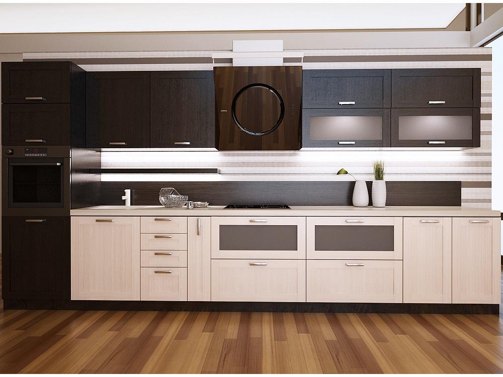 Кухня в стиле венге и беленый дуб